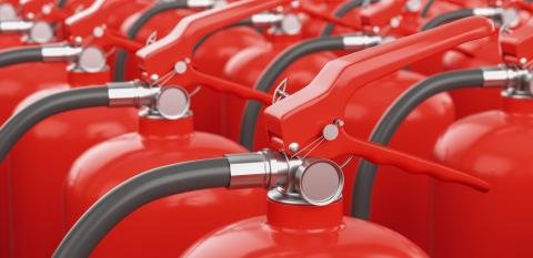 Many fire extinguishers. Concept of protection and security - Stock Photo or Stock Video of rcfotostock | RC-Photo-Stock