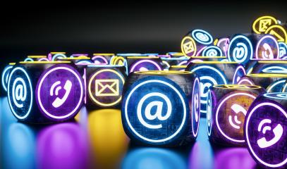 many neon light cubes Hotline support contact communication concept image- Stock Photo or Stock Video of rcfotostock | RC-Photo-Stock