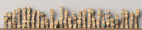 Many packages stacked up as delivery service and shipping concept, as a panorama background header- Stock Photo or Stock Video of rcfotostock | RC-Photo-Stock
