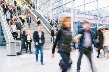 Many people as a crowd in the mall or at a trade fair use escalators- Stock Photo or Stock Video of rcfotostock | RC-Photo-Stock