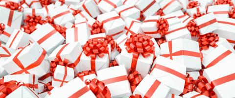 Many red and white gifts for Christmas on a big pile : Stock Photo or Stock Video Download rcfotostock photos, images and assets rcfotostock | RC-Photo-Stock.: