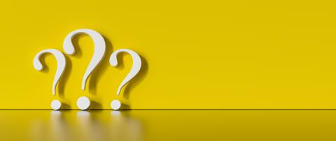 many White question marks on a yellow background with empty copy space on left side. 3D Rendering- Stock Photo or Stock Video of rcfotostock | RC-Photo-Stock