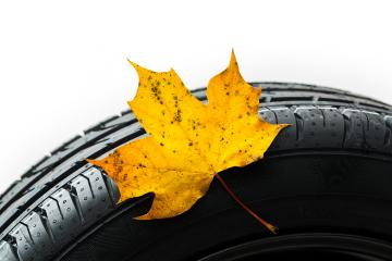 maple leaf on a car tire in the autumn - Stock Photo or Stock Video of rcfotostock | RC-Photo-Stock