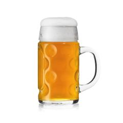 Mass beer glas beer mug Bierseidel Oktoberfest bayern munich with foam crown golden on white background - Stock Photo or Stock Video of rcfotostock | RC-Photo-Stock