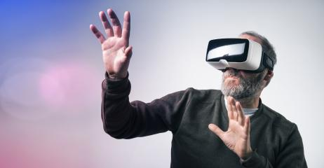 Mature business man wearing virtual reality googles / VR Glasses to work with in modern office : Stock Photo or Stock Video Download rcfotostock photos, images and assets rcfotostock | RC-Photo-Stock.: