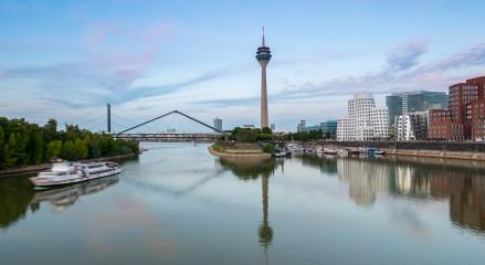 media harbor in Dusseldorf at sunset with cloudy sky, germany- Stock Photo or Stock Video of rcfotostock | RC-Photo-Stock