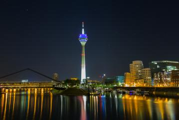 media harbor with Rheinturm tower at night in Dusseldorf : Stock Photo or Stock Video Download rcfotostock photos, images and assets rcfotostock | RC-Photo-Stock.: