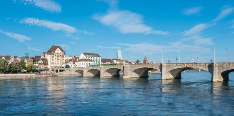 Middle bridge over Rhine river, Basel, Switzerland.- Stock Photo or Stock Video of rcfotostock | RC-Photo-Stock