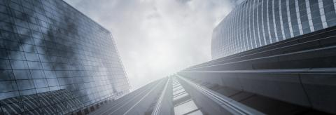 Modern office buildings skyscrapers in a business district, including copy space, banner size- Stock Photo or Stock Video of rcfotostock | RC-Photo-Stock