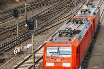 Modern red commuter train at the railway station- Stock Photo or Stock Video of rcfotostock | RC-Photo-Stock