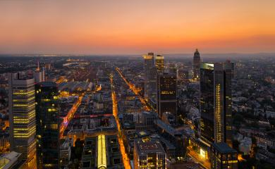 Modern skyline of Frankfurt at sunset, Germany financial business district- Stock Photo or Stock Video of rcfotostock | RC-Photo-Stock
