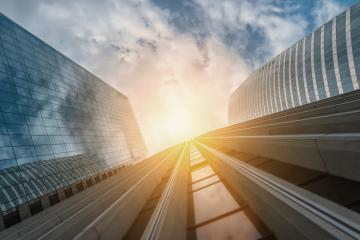 Modern skyscrapers in a business district, including copy space : Stock Photo or Stock Video Download rcfotostock photos, images and assets rcfotostock | RC-Photo-Stock.:
