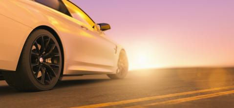 Modern sports  car from behind at the street on sunset, copyspace for your individual text.- Stock Photo or Stock Video of rcfotostock | RC-Photo-Stock