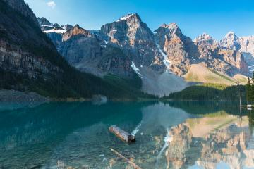 Moraine Lake at Sunrise Colorful Landscape in the banff national park canada- Stock Photo or Stock Video of rcfotostock | RC-Photo-Stock