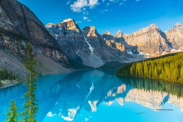 Moraine Lake at Sunrise in summer at the banff national park canada : Stock Photo or Stock Video Download rcfotostock photos, images and assets rcfotostock | RC-Photo-Stock.: