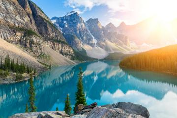 Moraine Lake at Sunrise in the Rocky Mountains, Alberta, Canada- Stock Photo or Stock Video of rcfotostock | RC-Photo-Stock