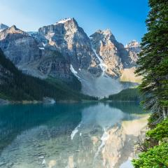 Moraine Lake in the morning at Sunrise in banff canada- Stock Photo or Stock Video of rcfotostock | RC-Photo-Stock