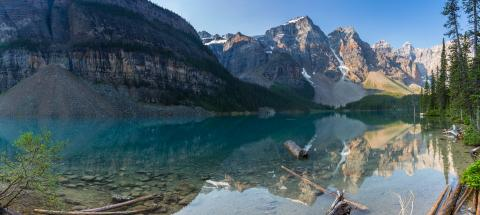 Moraine Lake in the morning at Sunrise in banff canada panorma : Stock Photo or Stock Video Download rcfotostock photos, images and assets rcfotostock | RC-Photo-Stock.:
