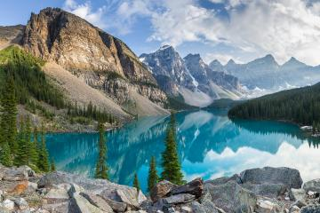 Moraine lake with the rocky mountains panorama in the banff canada : Stock Photo or Stock Video Download rcfotostock photos, images and assets rcfotostock | RC-Photo-Stock.:
