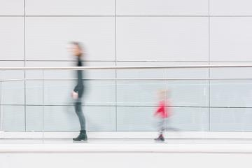 mother and her child walking in a clean futuristic corridor- Stock Photo or Stock Video of rcfotostock | RC-Photo-Stock