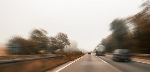 Motion blur road cars at autumn with mist- Stock Photo or Stock Video of rcfotostock | RC-Photo-Stock