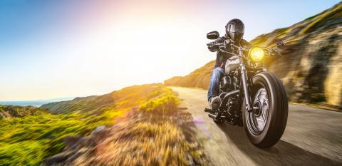 motorbike on the coastal road riding. having fun driving the empty highway on a motorcycle tour journey- Stock Photo or Stock Video of rcfotostock | RC-Photo-Stock