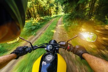 motorbike on the empty road riding and having fun on a motorcycle tour journey. copyspace for your individual text.- Stock Photo or Stock Video of rcfotostock | RC-Photo-Stock