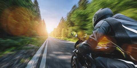 motorbike on the road driving fast. having fun on the empty highway on a motorcycle journey. - Stock Photo or Stock Video of rcfotostock | RC-Photo-Stock