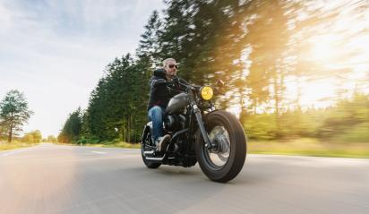 motorbike on the road riding. having fun driving the empty road on a motorcycle tour journey. copyspace for your individual text.- Stock Photo or Stock Video of rcfotostock | RC-Photo-Stock