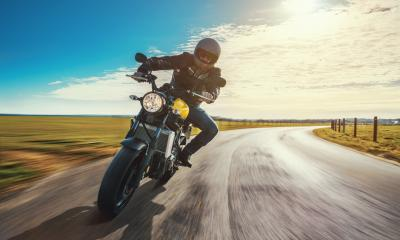 motorbike on the road riding. having fun riding the empty road on a motorcycle tour / journey- Stock Photo or Stock Video of rcfotostock | RC-Photo-Stock