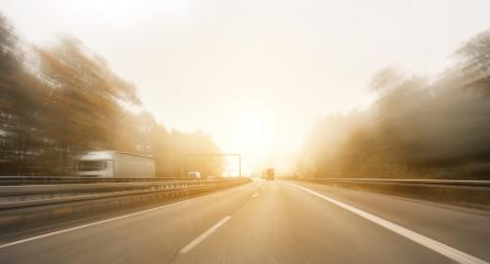motorway, with limited traffic, on a foggy autumn day, copyspace for your individual text.- Stock Photo or Stock Video of rcfotostock | RC-Photo-Stock