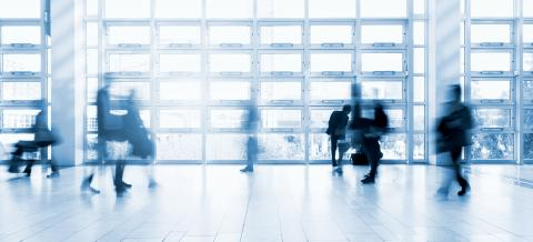 moving people at a tradeshow floor- Stock Photo or Stock Video of rcfotostock | RC-Photo-Stock