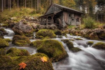 Mühle am Gollinger Wasserfall, Herbst, Wasserfall, Laub, Österreich : Stock Photo or Stock Video Download rcfotostock photos, images and assets rcfotostock | RC-Photo-Stock.: