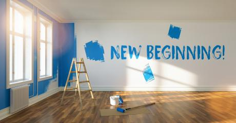New Beginning written on wall during renovation in a room, with ladder and paint bucket   : Stock Photo or Stock Video Download rcfotostock photos, images and assets rcfotostock | RC-Photo-Stock.: