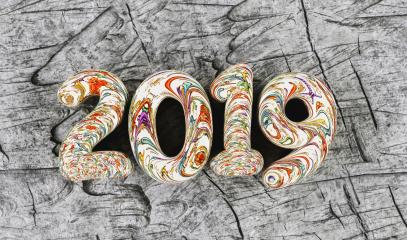 New year 2019 celebration. colorful inked numeral 2019 on timber gray wood background. New Year's Eve, concept image - 3d rendering - Illustration - Stock Photo or Stock Video of rcfotostock | RC-Photo-Stock