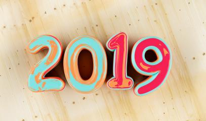 New year 2019 celebration. colorful inked numeral 2019 on wood background. New Year's Eve, concept image - 3d rendering - Illustration - Stock Photo or Stock Video of rcfotostock | RC-Photo-Stock
