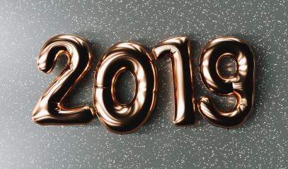 New year 2019 celebration. copper metallic numeral 2019 on gray background. New Year's Eve, concept image - 3d rendering - Illustration- Stock Photo or Stock Video of rcfotostock | RC-Photo-Stock