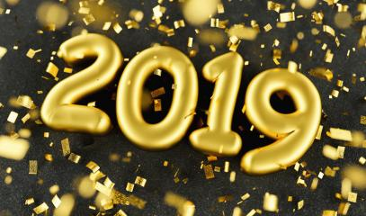 New year 2019 celebration. Gold foil balloons numeral 2019 and confetti on black luxery background. 3d rendering - Illustration - Stock Photo or Stock Video of rcfotostock | RC-Photo-Stock