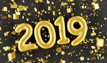 New year 2019 celebration. Gold foil balloons numeral 2019 and confetti on black luxery background. New Year's Eve, concept image - 3d rendering - Illustration  : Stock Photo or Stock Video Download rcfotostock photos, images and assets rcfotostock | RC-Photo-Stock.: