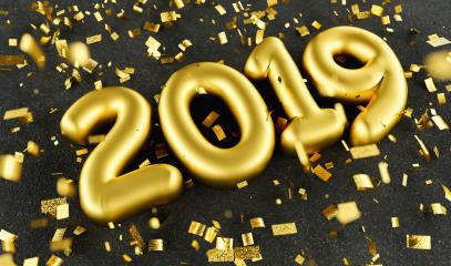 New year 2019 celebration. Gold numeral 2019 and confetti on black luxery background. New Year's Eve, concept image - 3d rendering - Illustration  : Stock Photo or Stock Video Download rcfotostock photos, images and assets rcfotostock | RC-Photo-Stock.: