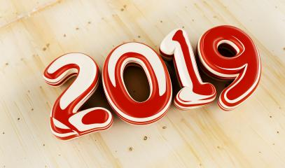 New year 2019 celebration. inked numeral 2019 on wood background. New Year's Eve, concept image - 3d rendering - Illustration - Stock Photo or Stock Video of rcfotostock | RC-Photo-Stock