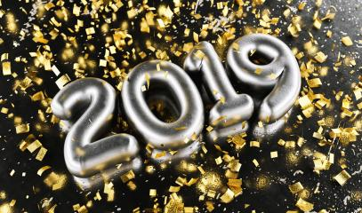 New year 2019 celebration. Silver numeral 2019 and Gold confetti on black luxery background. New Year's Eve, concept image - 3d rendering - Illustration- Stock Photo or Stock Video of rcfotostock | RC-Photo-Stock