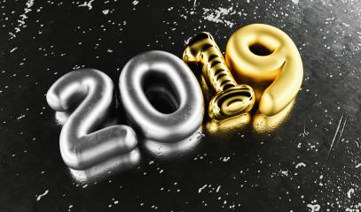 New year 2019 celebration. Silver numeral 2019 and Gold mettalic black background. New Year's Eve, concept image - 3d rendering - Illustration- Stock Photo or Stock Video of rcfotostock | RC-Photo-Stock