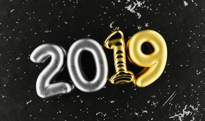 New year 2019 celebration. Silver numeral 2019 and Gold mettalic black background. New Year's Eve, concept image - 3d rendering - Illustration : Stock Photo or Stock Video Download rcfotostock photos, images and assets rcfotostock | RC-Photo-Stock.: