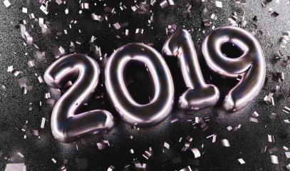 New year 2019 celebration. Silver Purple metallic numeral 2019 and confetti on black background. New Year's Eve, concept image - 3d rendering - Illustration  : Stock Photo or Stock Video Download rcfotostock photos, images and assets rcfotostock | RC-Photo-Stock.: