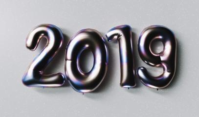 New year 2019 celebration. Silver Purple metallic numeral 2019 on gray background. New Year's Eve, concept image - 3d rendering - Illustration- Stock Photo or Stock Video of rcfotostock | RC-Photo-Stock