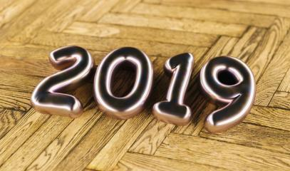 New year 2019 celebration. Silver Purple metallic numeral 2019on a old wooden floor background. New Year's Eve, concept image - 3d rendering - Illustration- Stock Photo or Stock Video of rcfotostock | RC-Photo-Stock