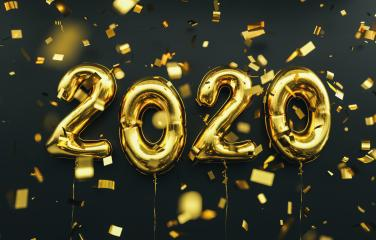 New year 2020 celebration. Gold foil balloons numeral 2020 and confetti on black background : Stock Photo or Stock Video Download rcfotostock photos, images and assets rcfotostock   RC-Photo-Stock.: