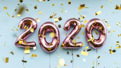New year 2020 celebration. pink metallic foil balloons numeral 2020 and confetti on blue background- Stock Photo or Stock Video of rcfotostock | RC-Photo-Stock