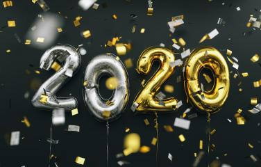 New year 2020 celebration. silver and gold foil balloons numeral 2020 and confetti on black background- Stock Photo or Stock Video of rcfotostock | RC-Photo-Stock